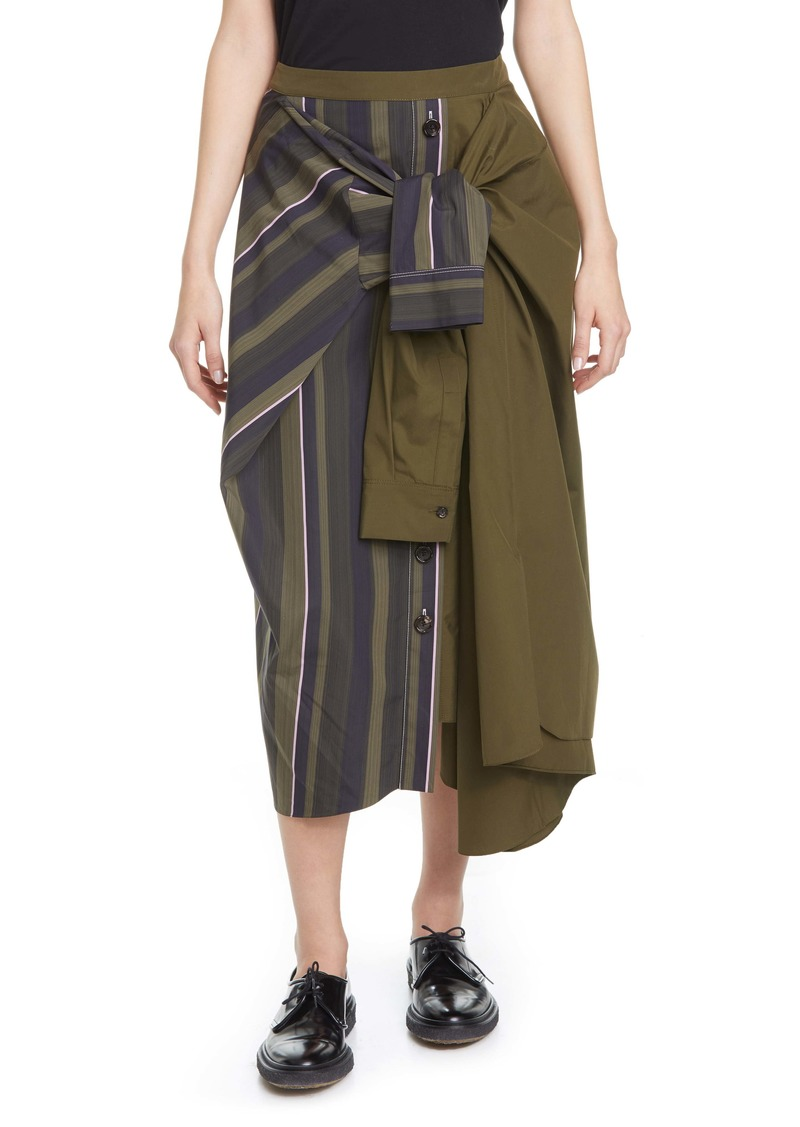 Marni Tie Front Asymmetrical Cotton Midi Skirt