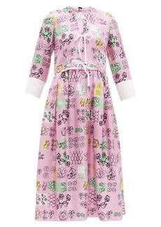 Marni Tie-front doodle-print silk midi dress