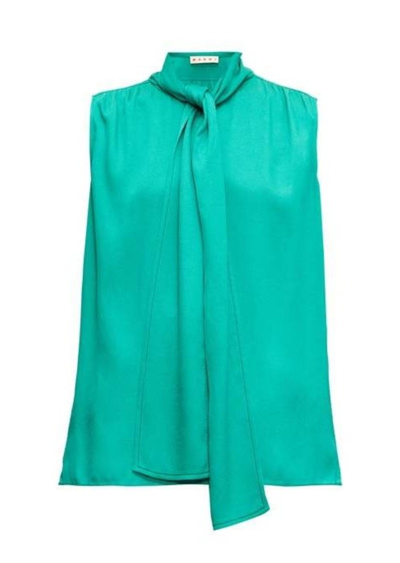 Marni Tie-neck sleeveless crepe blouse