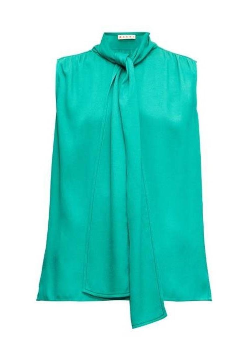 Marni Tie-neck sleeveless crepe blouse