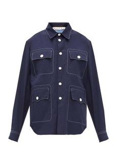 Marni Topstitched patch-pocket cotton-poplin shirt