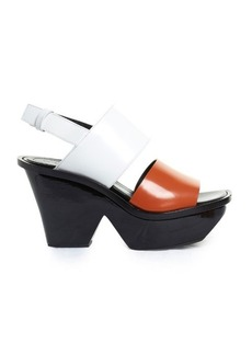 Marni Tri-colour lacquered-wedge sandals