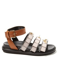 Marni Triple-strap embellished leather sandals