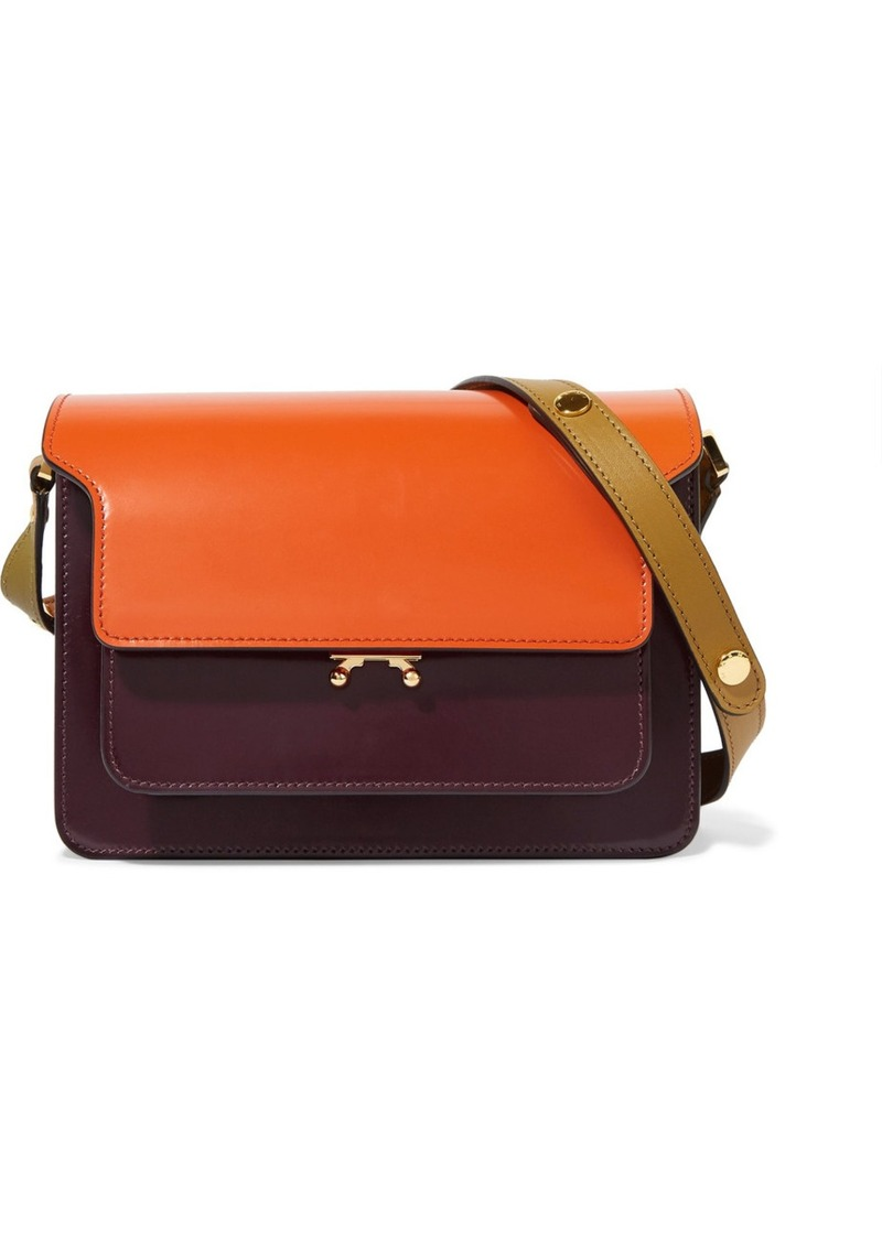 4f3b81bba812 Marni Trunk medium color-block glossed-leather shoulder bag