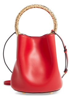 Marni Two-Tone Leather Hammered Top Handle Bag