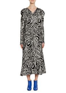 Marni V-Neck Long-Sleeve Zebra-Print Ankle-Length Dress