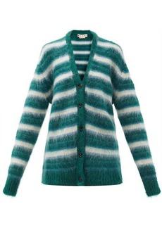 Marni V-neck striped mohair-blend cardigan