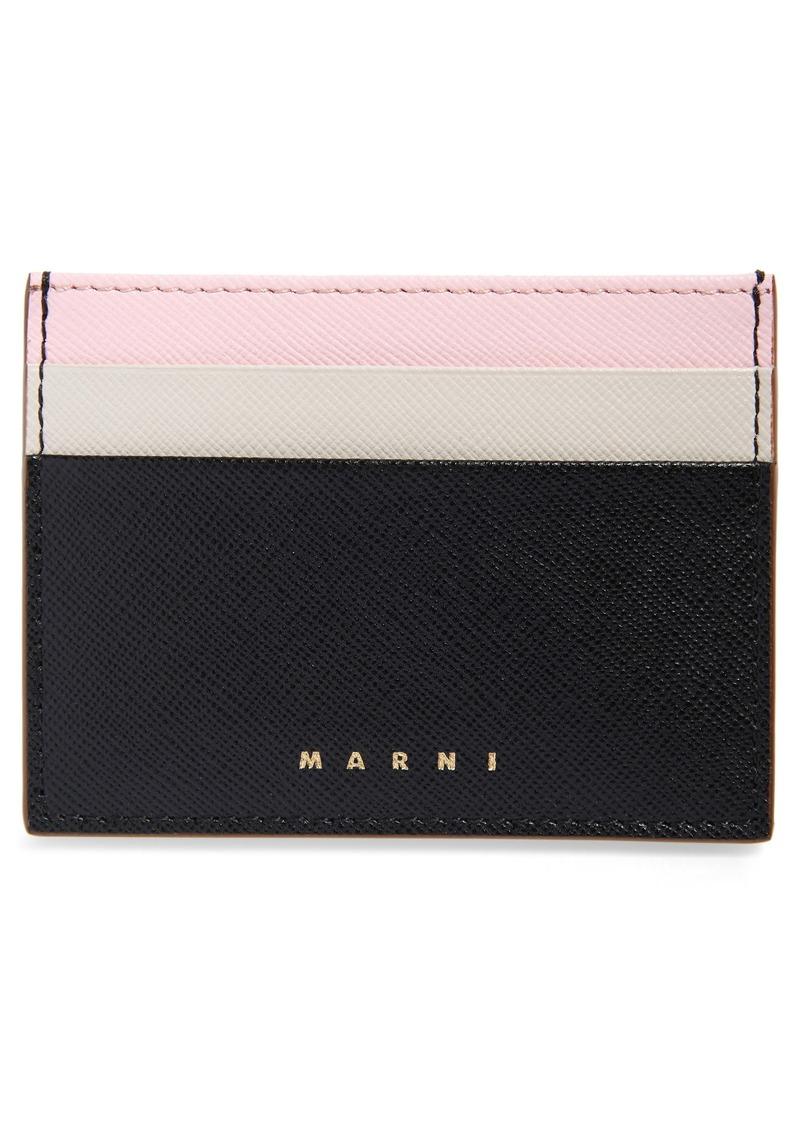 Marni Vanity Color Block Leather Card Holder