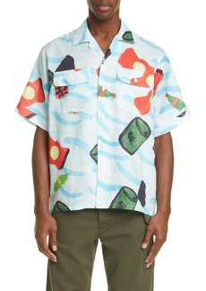 Marni Waste Sea Print Short Sleeve Ramie Button-Up Shirt