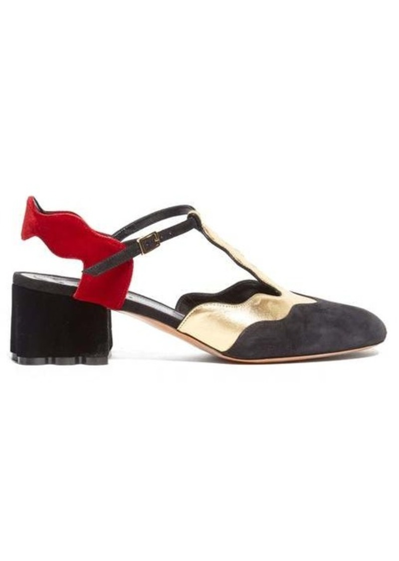 Marni Waved velvet and suede sandals
