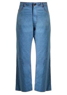 Marni Wide-leg cotton-blend cropped trousers