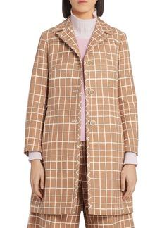 Marni Windowpane Check Cotton & Linen Coat
