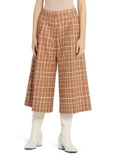 Marni Windowpane Check Wide Leg Crop Pants
