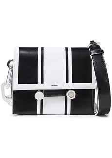 Marni Woman Acrylic-trimmed Two-tone Leather Shoulder Bag Black