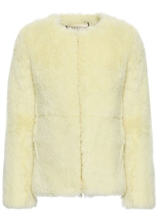 Marni Woman Alpaca Cotton And Mohair-blend Jacket Pastel Yellow