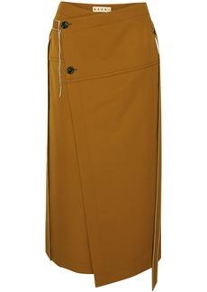 Marni Woman Asymmetric Belted Wool-twill Wrap Skirt Camel