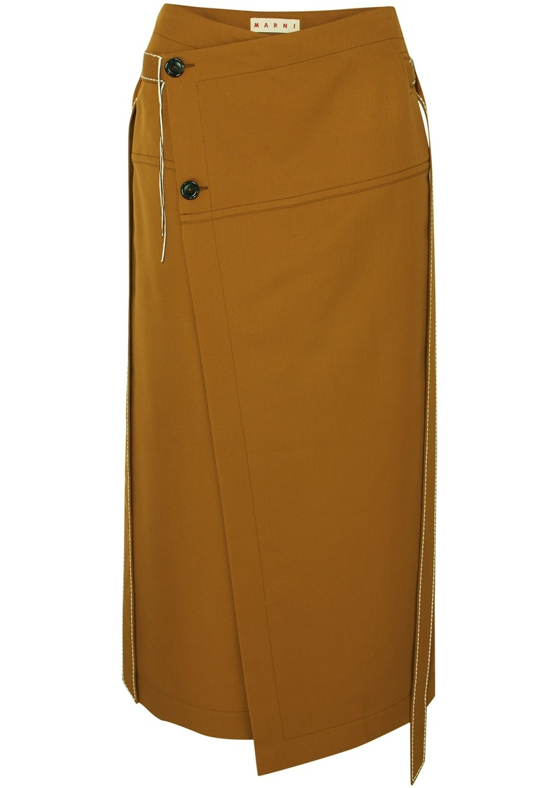 Marni Woman Asymmetric Belted Wool-twill Wrap Skirt Camel