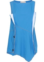 Marni Woman Asymmetric Button-embellished Coated-cotton Top Azure