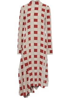 Marni Woman Asymmetric Checked Silk Midi Dress Neutral