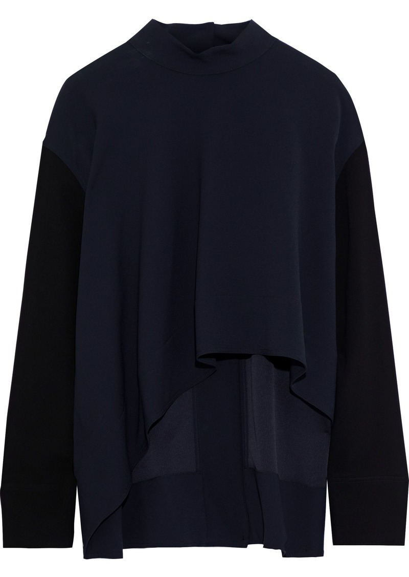 Marni Woman Asymmetric Crepe Blouse Navy