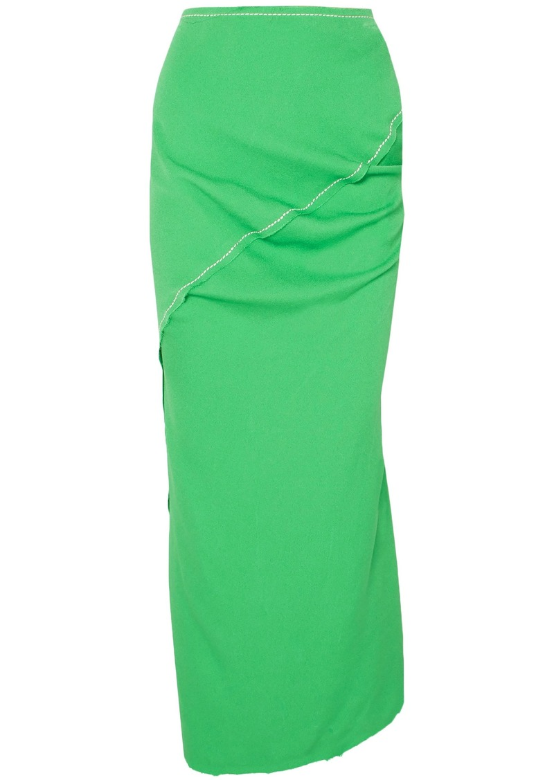 Marni Woman Gathered Crepe Maxi Pencil Skirt Bright Green