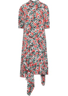 Marni Woman Asymmetric Draped Floral-print Crepe Midi Dress Coral