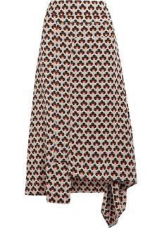 Marni Woman Asymmetric Draped Printed Silk Midi Skirt Taupe