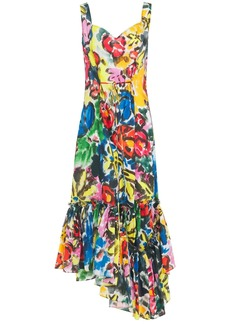 Marni Woman Asymmetric Floral-print Ramie Maxi Dress Multicolor