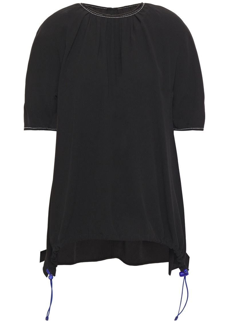 Marni Woman Asymmetric Gathered Crepe Top Black