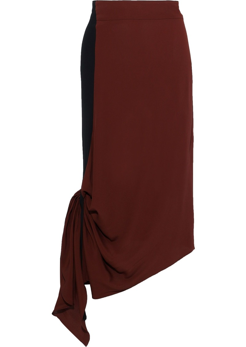 Marni Woman Asymmetric Knotted Two-tone Crepe De Chine Midi Skirt Brown