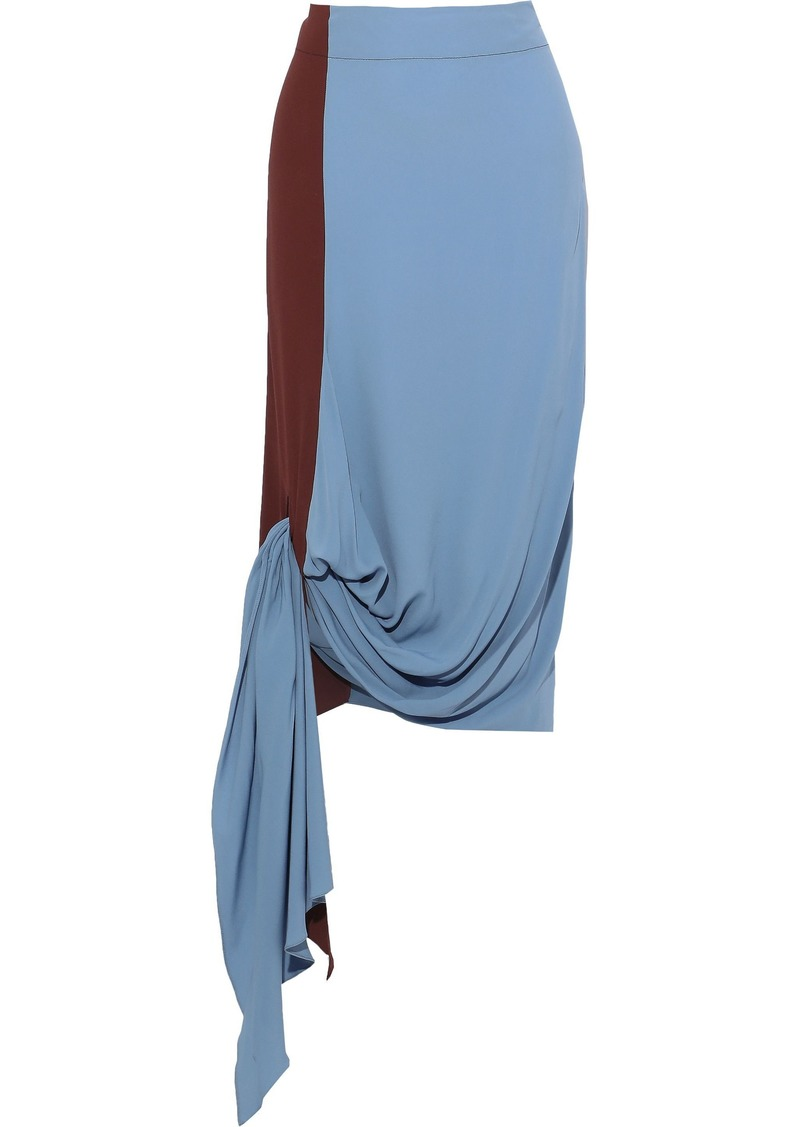 Marni Woman Asymmetric Knotted Two-tone Crepe De Chine Midi Skirt Light Blue