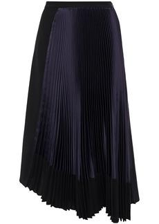 Marni Woman Asymmetric Pleated Satin-paneled Crepe Skirt Black