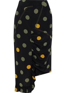 Marni Woman Asymmetric Ruffle-trimmed Polka-dot Silk Crepe De Chine Skirt Black