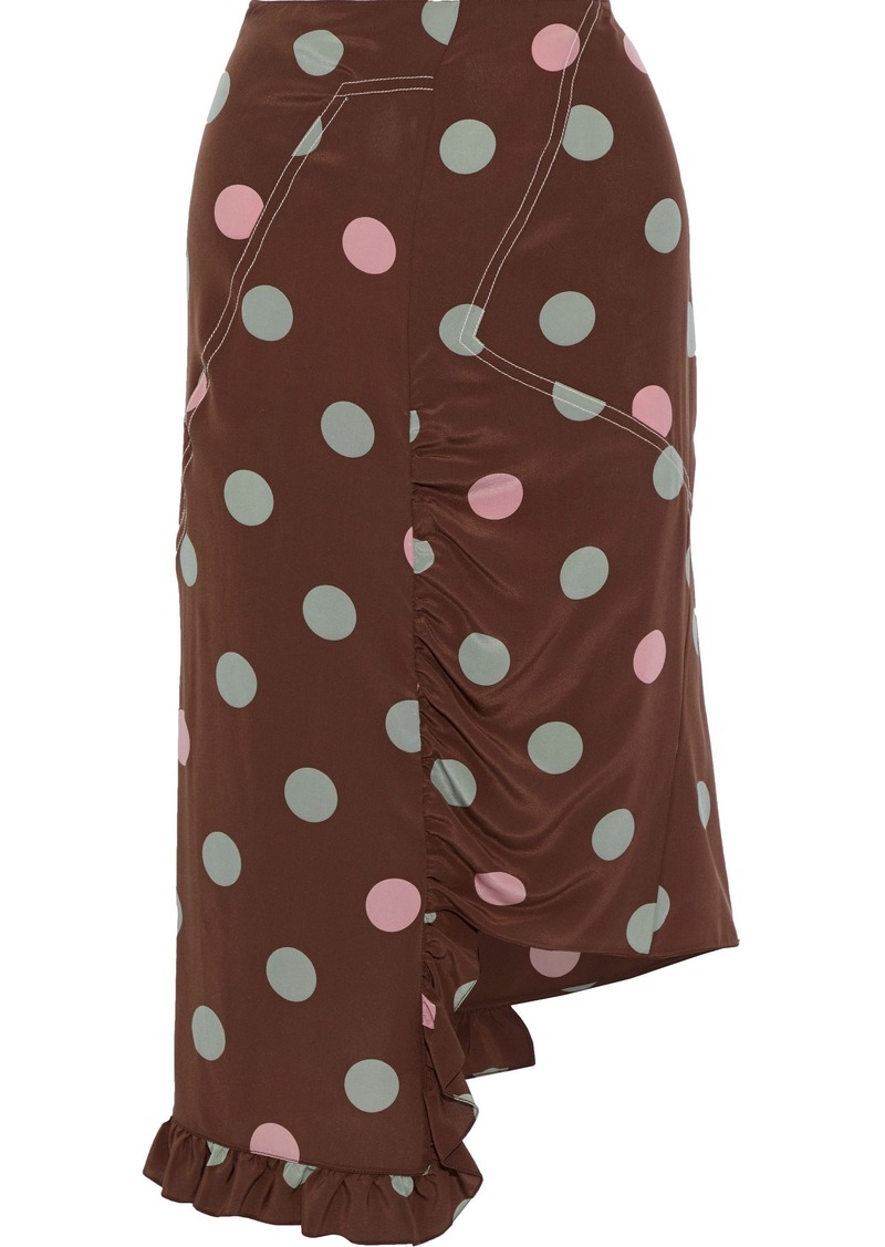 Marni Woman Asymmetric Ruffle-trimmed Polka-dot Silk Crepe De Chine Skirt Brown