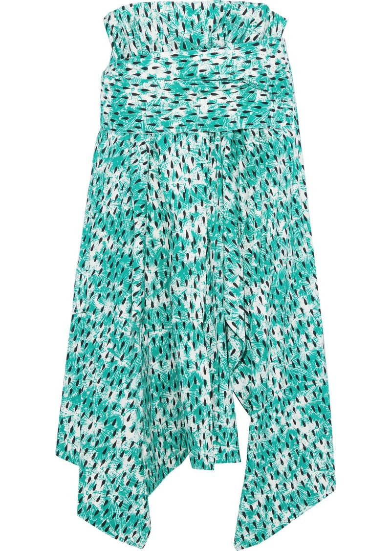 Marni Woman Asymmetric Printed Cotton-poplin Midi Skirt Jade
