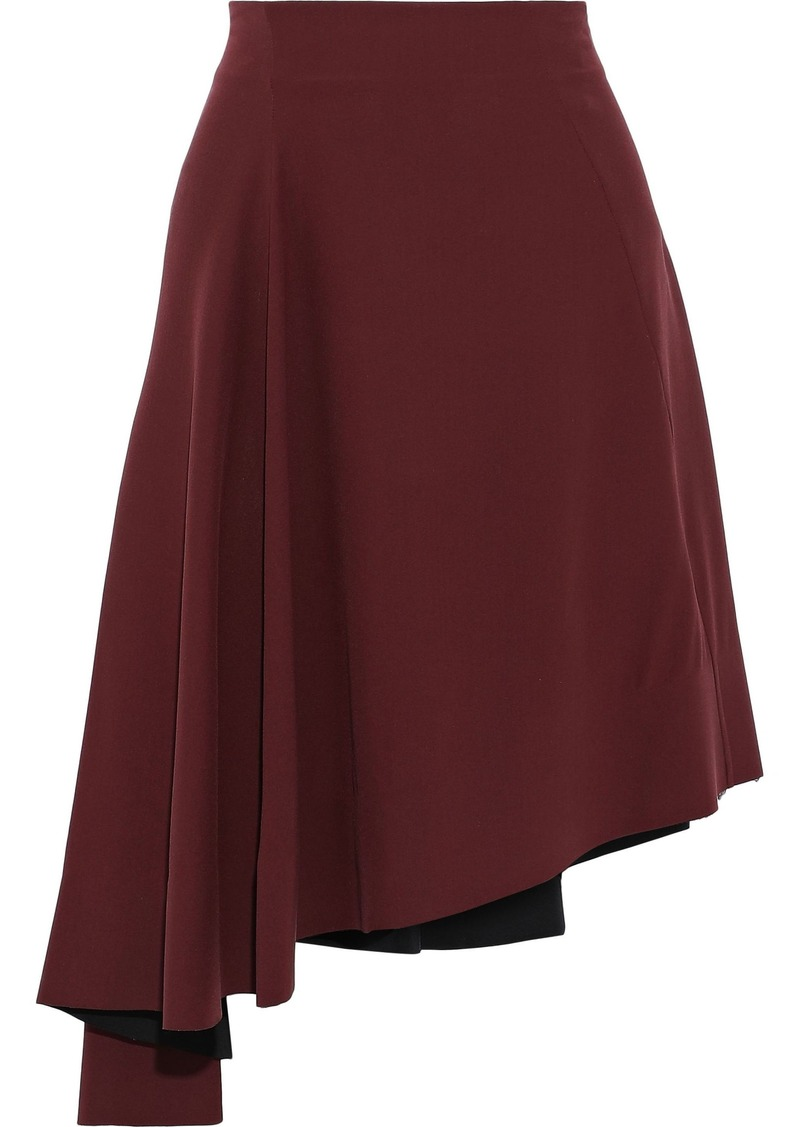 Marni Woman Asymmetric Ruffled Silk-crepe Skirt Burgundy