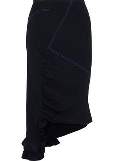 Marni Woman Asymmetric Ruffle-trimmed Silk Crepe De Chine Skirt Black