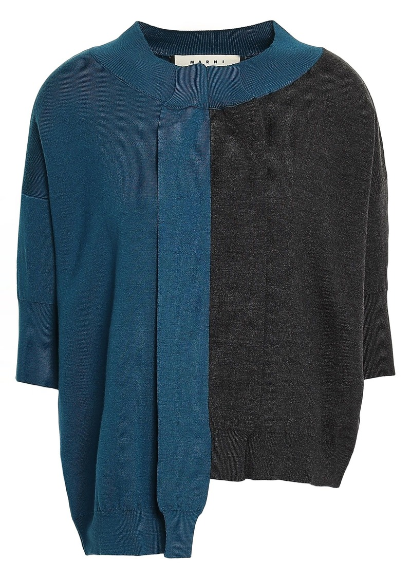 Marni Woman Asymmetric Two-tone Wool Top Cobalt Blue