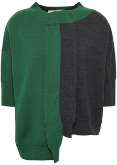 Marni Woman Asymmetric Two-tone Wool Top Forest Green