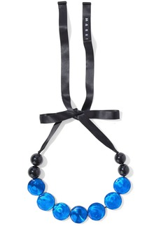 Marni Woman Bead Resin And Satin Necklace Bright Blue