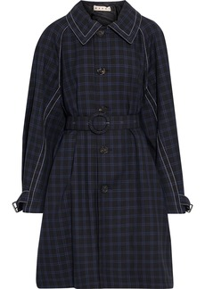 Marni Woman Belted Checked Wool-gabardine Coat Black