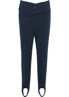 Marni Woman Belted Crepe Slim-leg Stirrup Pants Storm Blue