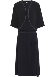 Marni Woman Belted Embroidered Crepe Midi Dress Black