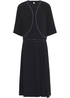 Marni Woman Belted Embroidered Satin-crepe Midi Dress Black
