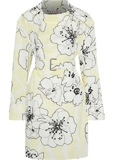Marni Woman Belted Floral-print Cotton-poplin Tunic Pastel Yellow