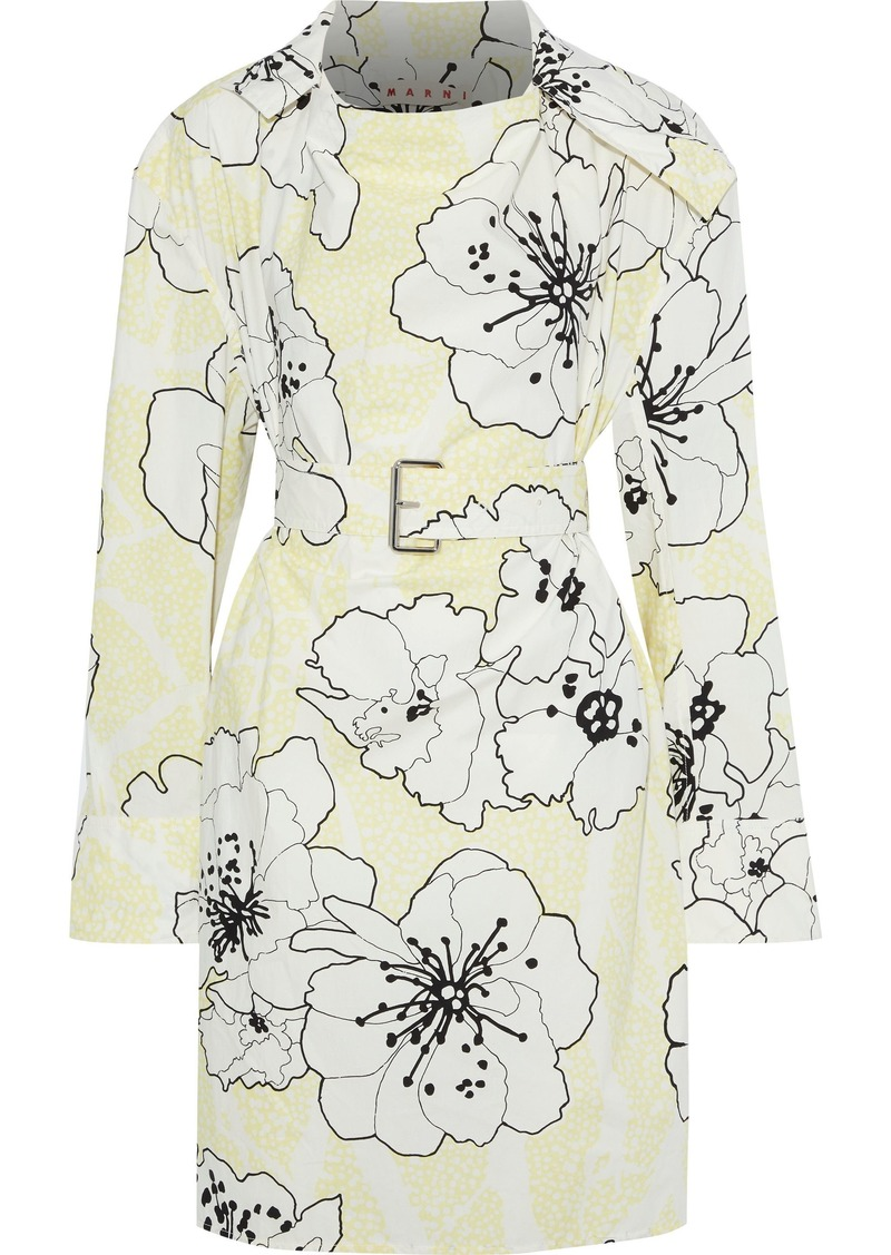 Marni Woman Belted Floral-print Cotton-poplin Tunic Pastel Yellow