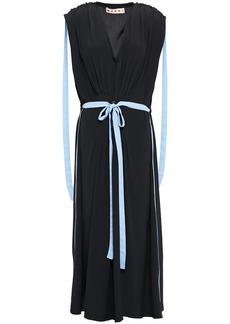 Marni Woman Belted Pleated Crepe De Chine Midi Dress Black
