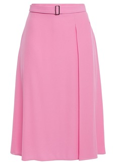 Marni Woman Belted Pleated Satin-crepe Skirt Pink