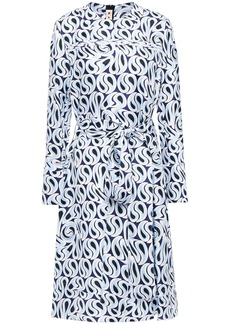 Marni Woman Belted Printed Silk-twill Dress Light Blue