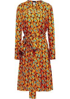 Marni Woman Belted Printed Silk-twill Dress Orange